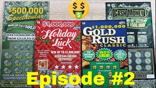 Episode 2 PLAYING FLORIDA SCRATCH OFF $500,000 Spectacular-$1 Million Holiday Luck – $1 Million Gold Rush-Cash Money