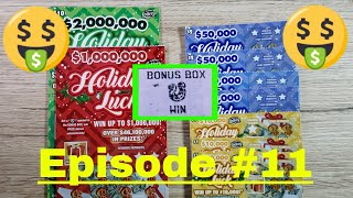 Episode 11 FLORIDA LOTTERY SEASONAL SCRATCH OFF TICKETS - $1 $2 $5 $10 HOLIDAY LUCK SCRATCH OFF WIN!