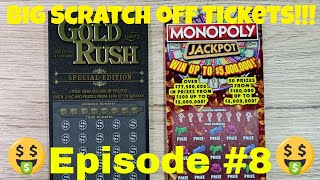 Episode 8 - BIG SCRATCH OFF TICKETS- $30 Gold Rush Special Edition - $20 Monopoly Jackpot - Big Win?